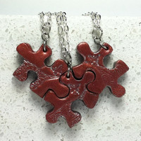 Puzzle Piece Interlocking Polymer Clay  Necklaces Leaf and Butterfly 3 Piece Set 183