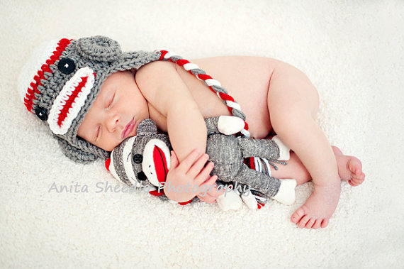 White Red & Dark Gray Sock Monkey Earflap Hat with by karlyskloset