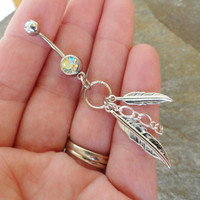 Feather and Chain Belly Button Ring Silver by MidnightsMojo