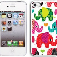 Apple iPhone 4 4S 4G White 4W1 Hard Back Case Cover Colorful Elephants Hearts: Cell Phones & Accessories