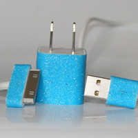 Bright Blue Glitter iPhone Charger by GiftsThatGlitter on Etsy