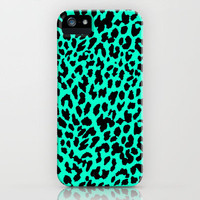 Neon Mint Leopard iPhone Case by MN Art