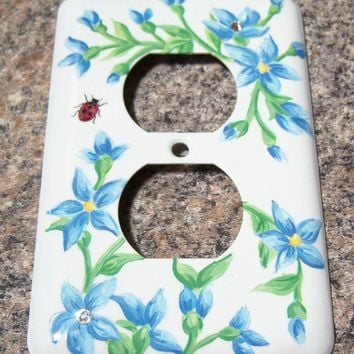 Blue floral steel outlet cover - swarovski crystals