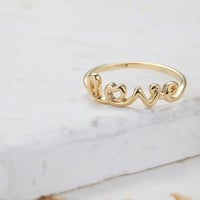 Cute Love Initial Ring  Gold // R008GD // Gold by CreaMellow