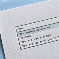 Letterpress &quot;You auto-complete me.&quot; Valentine&#x27;s Day Love Greeting Card with Envelope