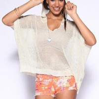 Beige Knit Mesh Hooded Sweater with Dolman Sleeves