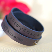 I carry your heart engraved leather wrap bracelet by BookFiend