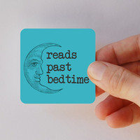 reads past bedtime square magnet by BookFiend on Etsy