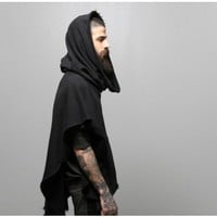 oak funnel neck poncho black Oak