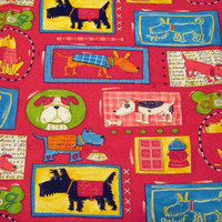 Dogs Spotted Everywhere Cotton Fabric 1/2 yard units - Robert Kaufman - Nancy Wolff - Sewing -  Quilting - Red Blue Green Yellow Destash
