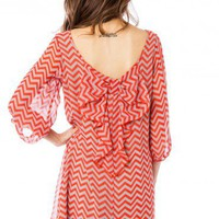 Chiffon Chevron Bow Dress in Red Grey - ShopSosie.com