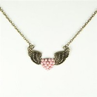 Bronze wing necklace with pink beaded heart