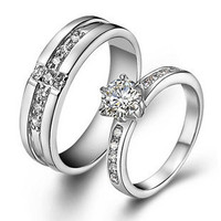 925 Sterling Silver Swiss Diamond Highend Wedding Couple Ring - GULLEITRUSTMART.COM