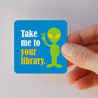 take me to your library square magnet by BookFiend on Etsy