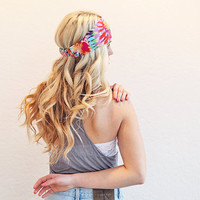 Tie Dye Rainbow Print Headband Stretchy Summer Music Festival Head Wrap