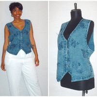 Vintage 1990s Denim Sleeveless Blouse/One Size Fits All