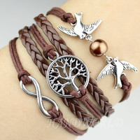 Bangle Cuff Bracelet Tree of life Bracelet Silvery Karma Bracelet Lover Birds Bracelet Pearl Personalized Bracelet -N1137