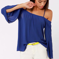 Shoulder of Fortune Off-the-Shoulder Royal Blue Top