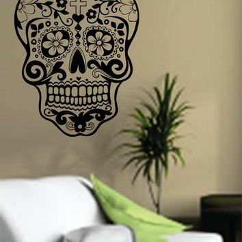 Sugar Skull Wall Vinyl Decal Sticker Art Graphic by DabbleDown