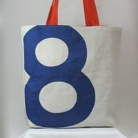 Reiter8 Recycled Sail Tote Blue Number 8 by reiter8 on Etsy