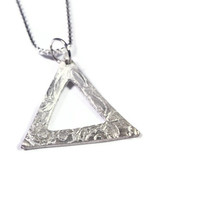 Triangle Necklace, Geometric Jewelry, Fine Silver Artisan Pendant Necklace