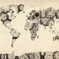 Map of the World Map from Old Clocks Digital Art by Michael Tompsett - Map of the World Map from Old Clocks Fine Art Prints and Posters for Sale