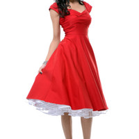 STOP STARING! MAD MEN Red Pleated Bodice Cap Sleeve Swing Dress - Unique Vintage - Prom dresses, retro dresses, retro swimsuits.