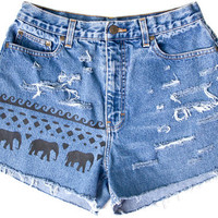 Tribal Aztec Elephant Waves Shorts Hand Painted Vintage Distressed High Waisted Denim Boho Hipster Small Medium W28