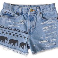 Tribal Aztec Elephant Waves Shorts Hand Painted Vintage Distressed High Waisted Denim Boho Hipster Extra Small XS W24