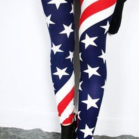 European Style Striped Stars Cropped Leggings at Online Apparel Store Gofavor