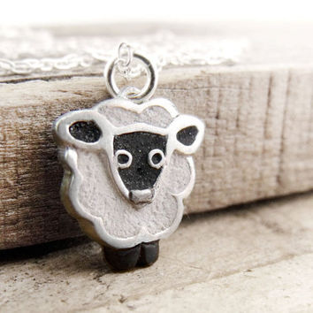 Little sheep necklace concrete and silver by lulubugjewelry