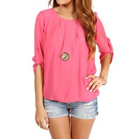 Fuchsia 3/4 Pleated Neck Top