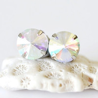 Round Glass Jewel Stud Earrings - Rainbow