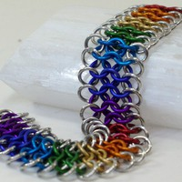 Chakra Rainbow Chainmaille Bracelet Framed with Light | M2bC - Jewelry on ArtFire