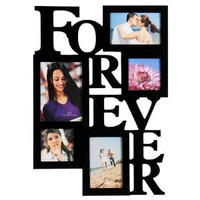 "ADECO PF0001-B 5-Opening Black Wooden Wall Hanging Collage Photo Picture Frames - Holds 4x4 4x6 5x7 Inch Photos,Saying ""FOREVER"",Home Decor Wall Art,Best Gift"