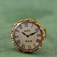 Steampunk clock ring paris brass watch