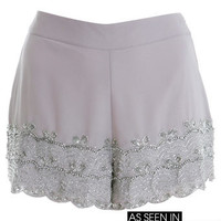 Grey Embellished Hem lilac purple Short