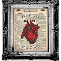 Upcycled Vintage Dictionary Book Page Art Heart  by FoxHunterStudios
