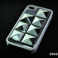 IPhone 4 / 4S studded white case by CRISION on Etsy