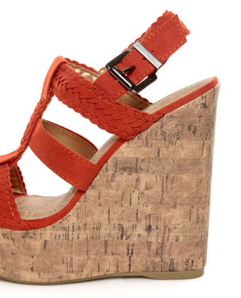 Soda Sotto Burnt Orange Braided T-Strap Wedges - &amp;#36;29.00