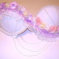 floral / purple / pink bra by LBraveattire on Etsy