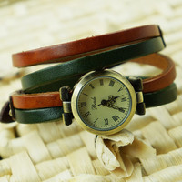 Simple Vintage Double-wrap Multicolor Watch