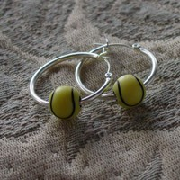 Tennis Ball Hoop earrings just for fun, novelty