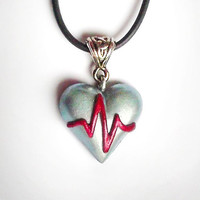 ECG heart pendant or brooch - Heart disease awareness necklace, get well gift, symbolic jewelry