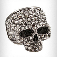 Gunmetal Sparkles Skull Ring | PLASTICLAND