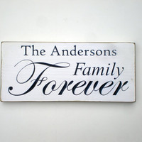 Personalized Family Forever Carved Wood Sign