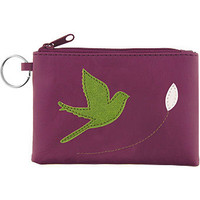 LAVISHY bird Vegan Leather Coin Purse with Key Ring