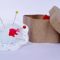 Pincushion Ring Koi Fish Red White Lace