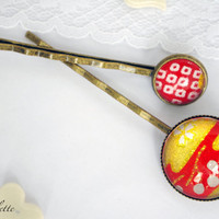 Hair pin Bobby pin romantic red gold wedding