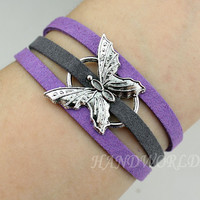 beautiful butterfly bracelet retro silver butterfly pendant friendship bracelet personalized bracelet bangle cuff gift -N1144